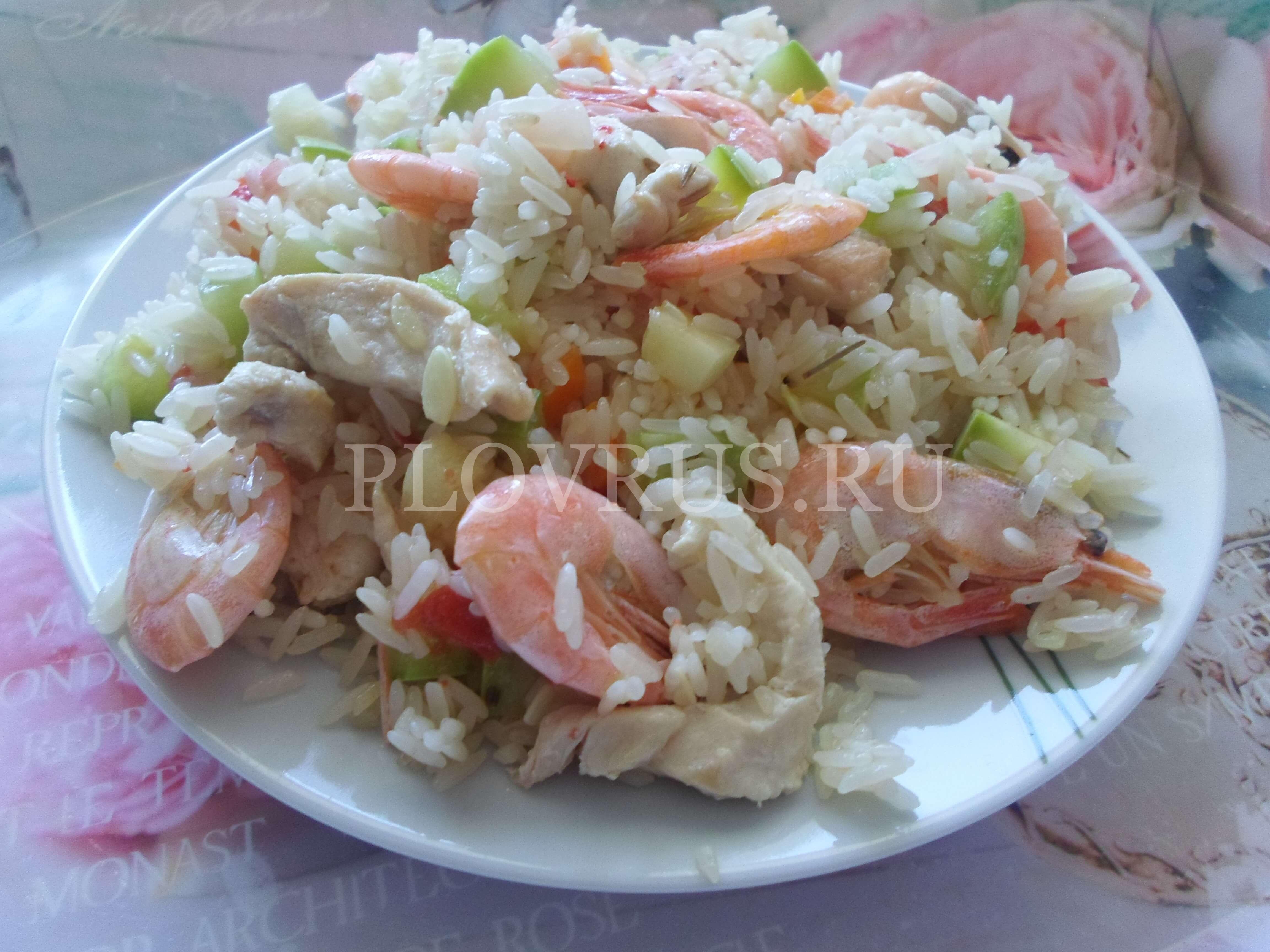 Плов с креветками и овощами