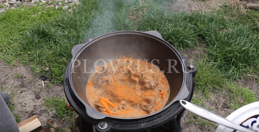 Приготовление плова с баранины на огне: ШАГ 6