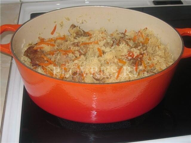 Приготовление плова в утятнице на плите-из свинины, из курицы